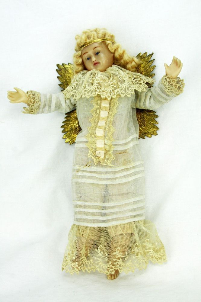 Antique German Poured Wax Angel ca1880