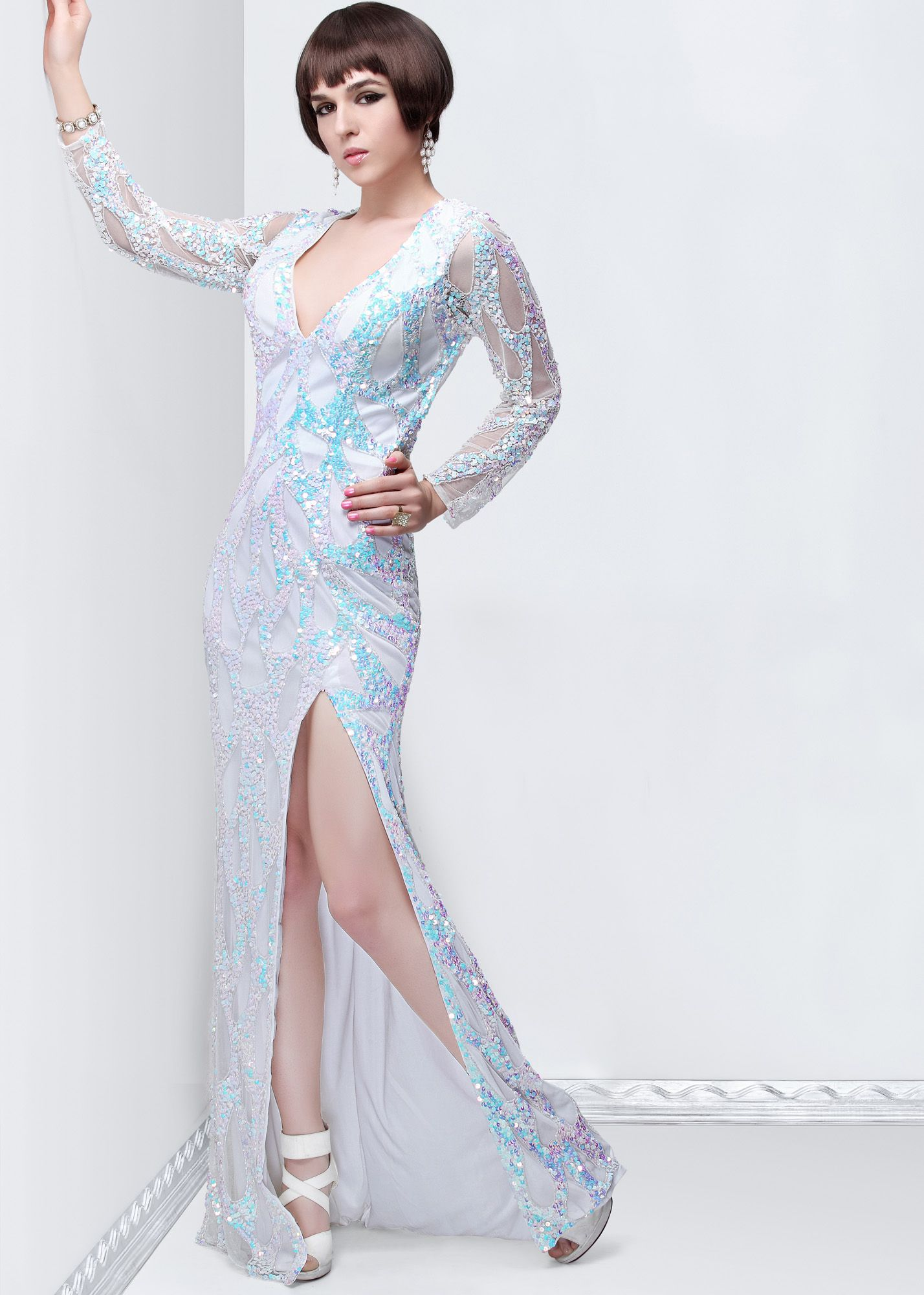 Primavera ivory high neck sequin prom dresses online