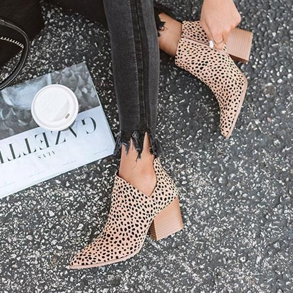 Fashion Stylish Pointed Toe Leopard Booties #fallshoes