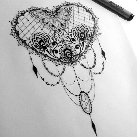 lace tattoo Black heart