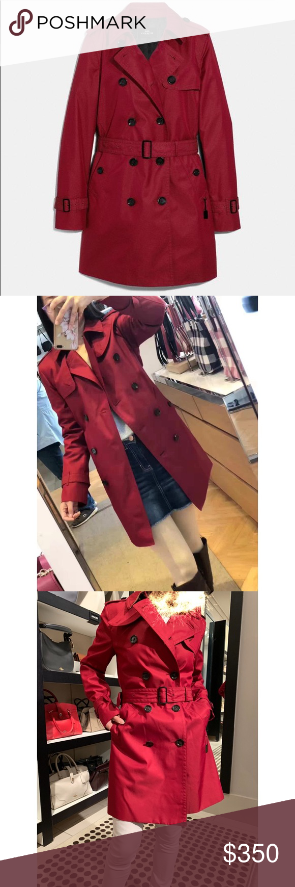 NWT Authentic Coach Women Trench Coat Red XXS in 2020