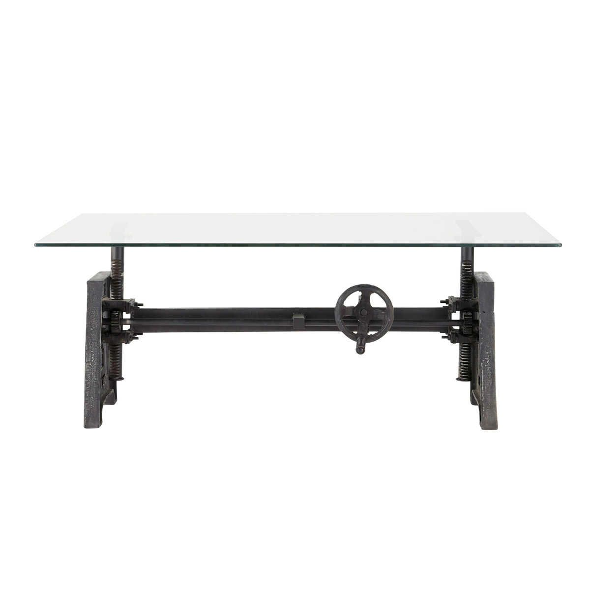 Table Basse Indus En Verre Et Metal L 135 Cm Industriel Table