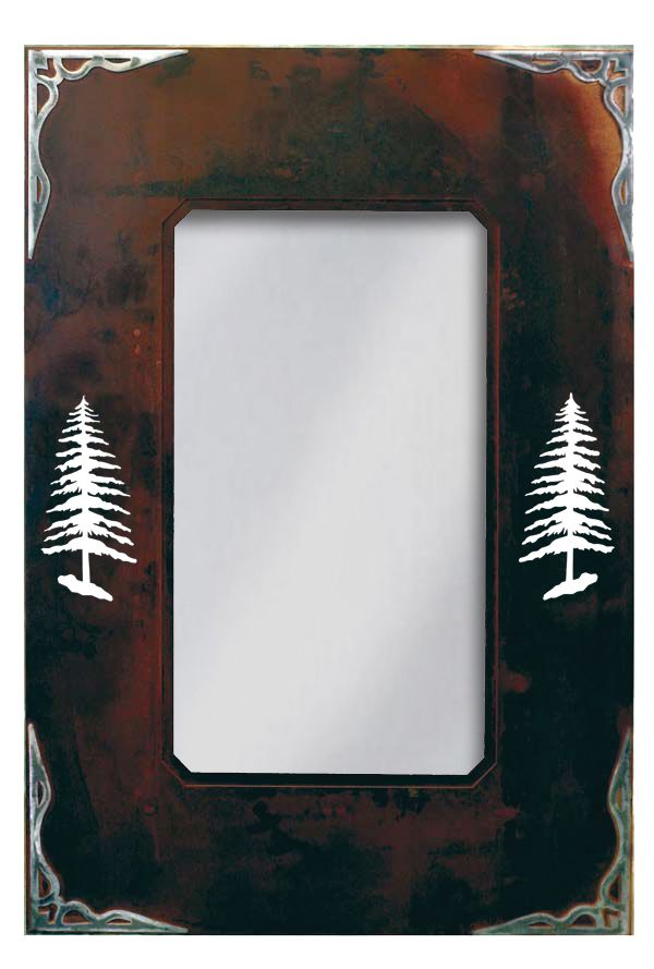 Wrought Iron Mirror with Burnished Pine Tree Motif - 36\