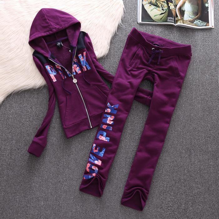 cf88ecd8d338 Juicy Couture Love Pink Velour Tracksuit 8006 2pcs Women Suits Purple