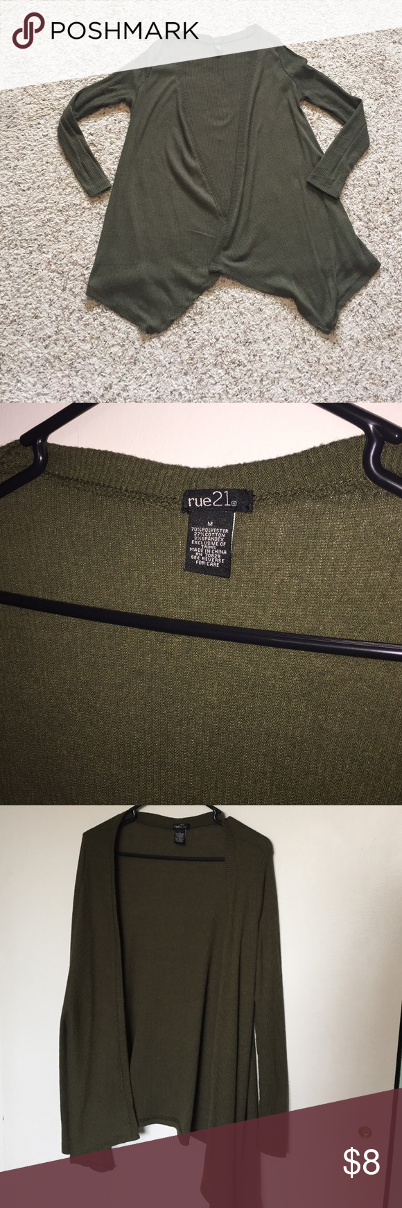 Rue 21 olive green cardigan size medium Rue 21 olive green open front cardigan. Size medium. Only worn twice! Great for layering! Rue 21 Sweaters Cardigans