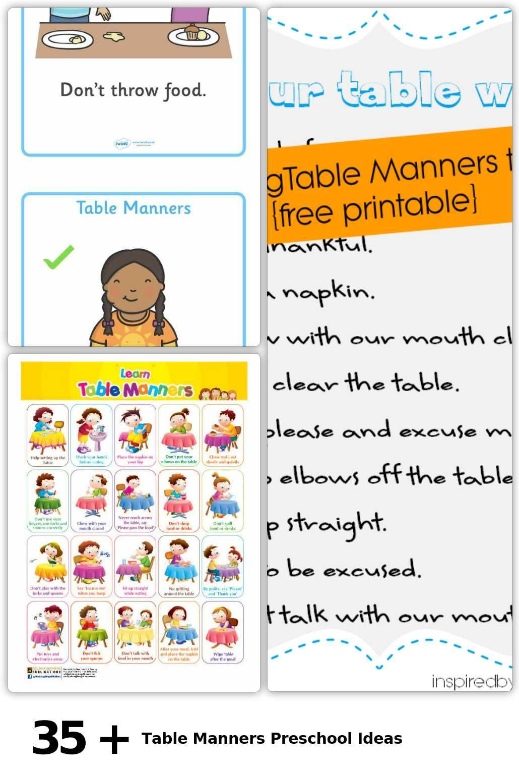 35 Table Manners Preschool Ideas In