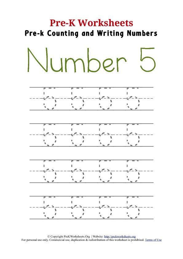 Number 5 Preschool Writing Worksheet Numbers Preschool