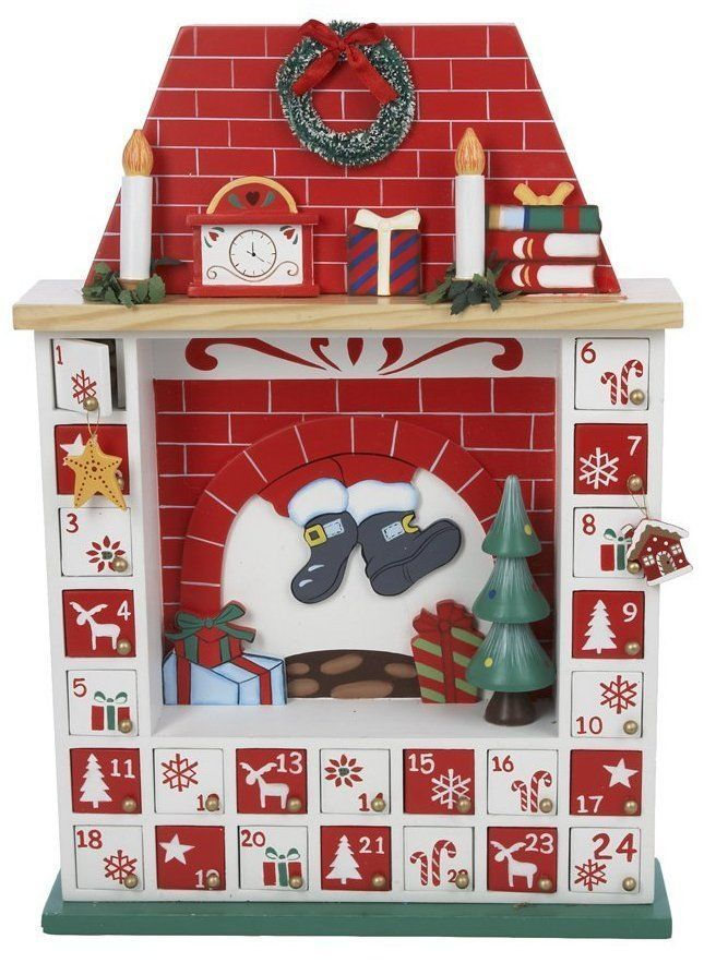 Chimney With Fireplace Scene Wooden Christmas Advent