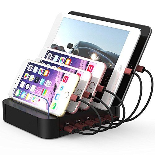 Charging Station 5 Ports Dock For Multiple Devices Multi Usb Charger Cell Phone