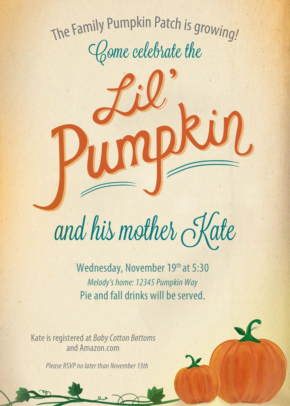 Lil Pumpkin Baby Shower Invitation   By Finicky Designs
