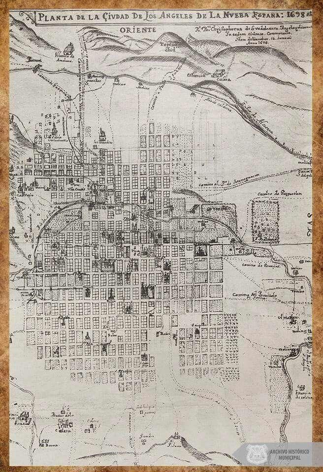 Planta de la Ciudad de Los Angeles de la nueva Espana, 1698