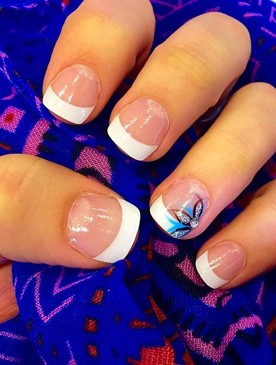 French Manicure With Blue Accent Line Gel French Manicure Blue French Manicure Gel Manicure Designs