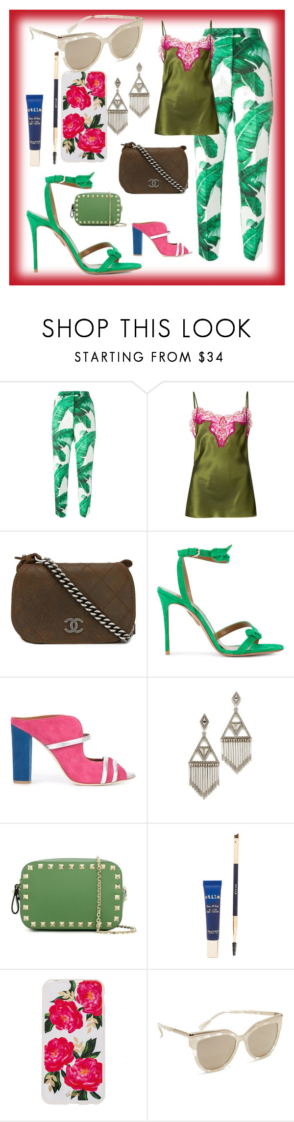 """My Small Wardrobe"" by mkrish ❤ liked on Polyvore featuring Dolce&Gabbana, Marques'Almeida, Chanel, Aquazzura, Malone Souliers, House of Harlow 1960, Valentino, Stila, Sonix and MCM"