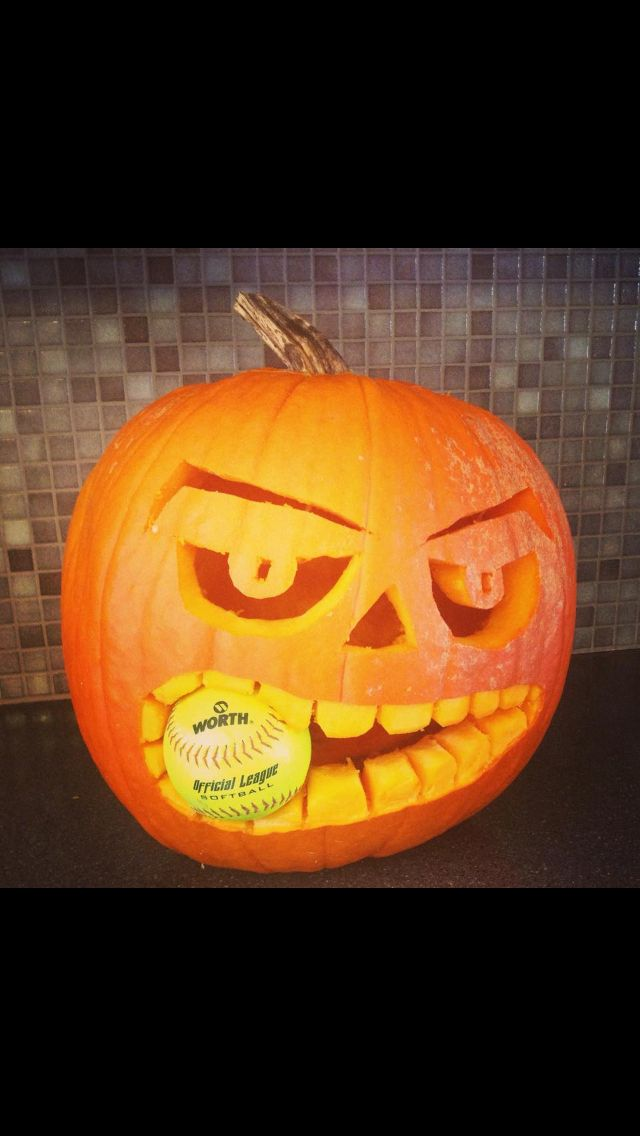 Softball pumpkin pumpkins pinterest stuff