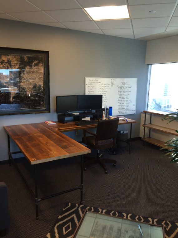 Farmhouse Office Desk In L Shape Made With Reclaimed Wood