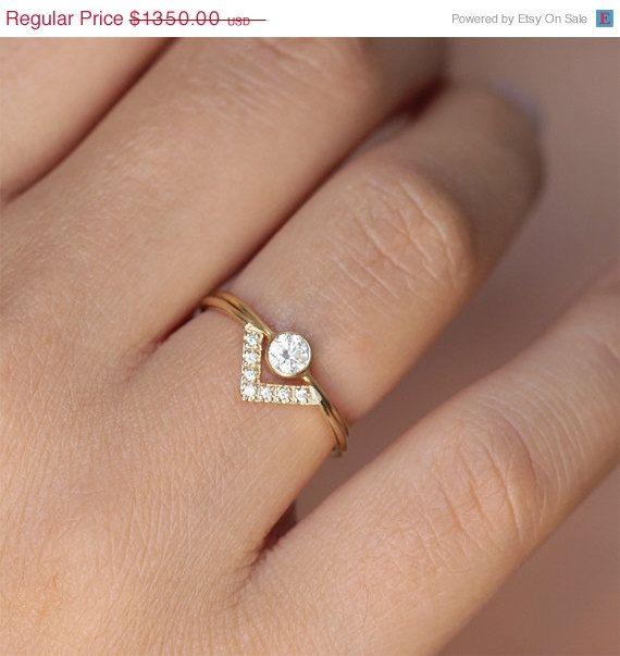 Simple Wedding Ring Set Bespoke Engagement Minimalist Dainty Diamond V 0 2 Carat