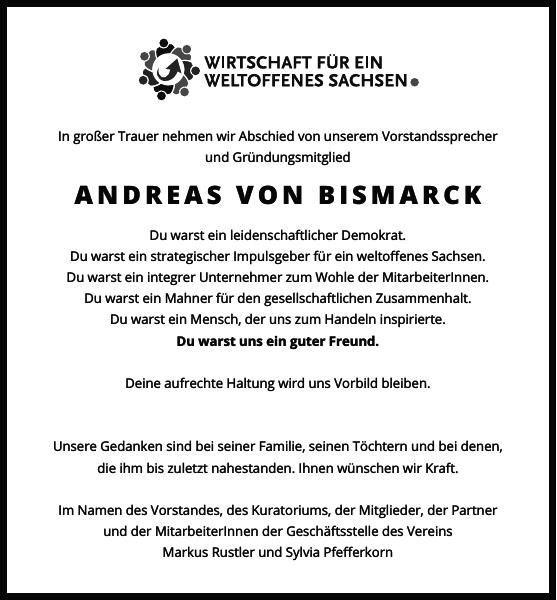 Andreas Von Bismarck Traueranzeige Sachsische Zeitung Trauer Traueranzeigen Bismarck