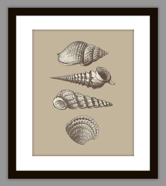 Beige Seashell Bathroom Digital Art Print Download