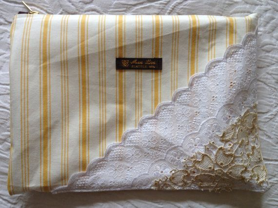 White and yellow stripped bag with white and by MeeLeeSeattleWA, $68.00