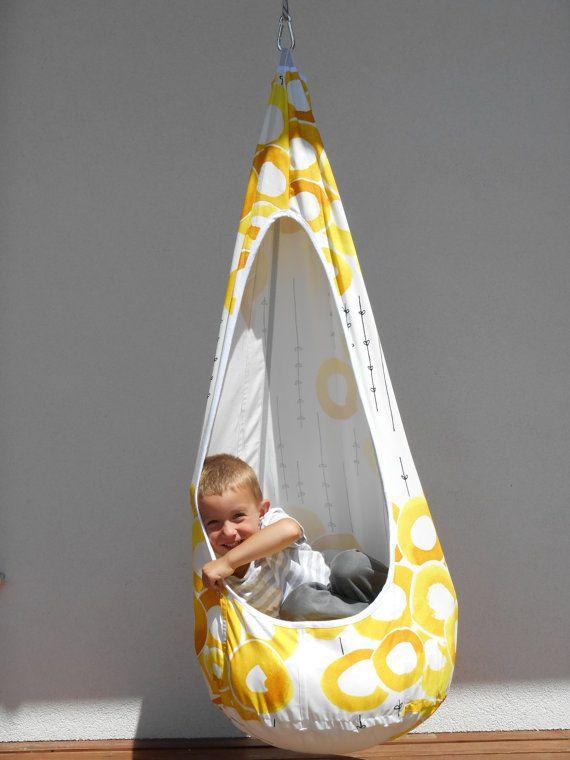Yellow-white swing,handmade hammock chair for children ...