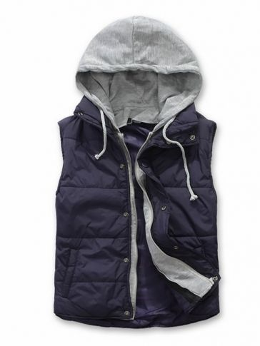 Dark Blue Simple Casual Hoodie Sleeveless Cotton Blends Vest M/L/XL/XXL 717-250-35db