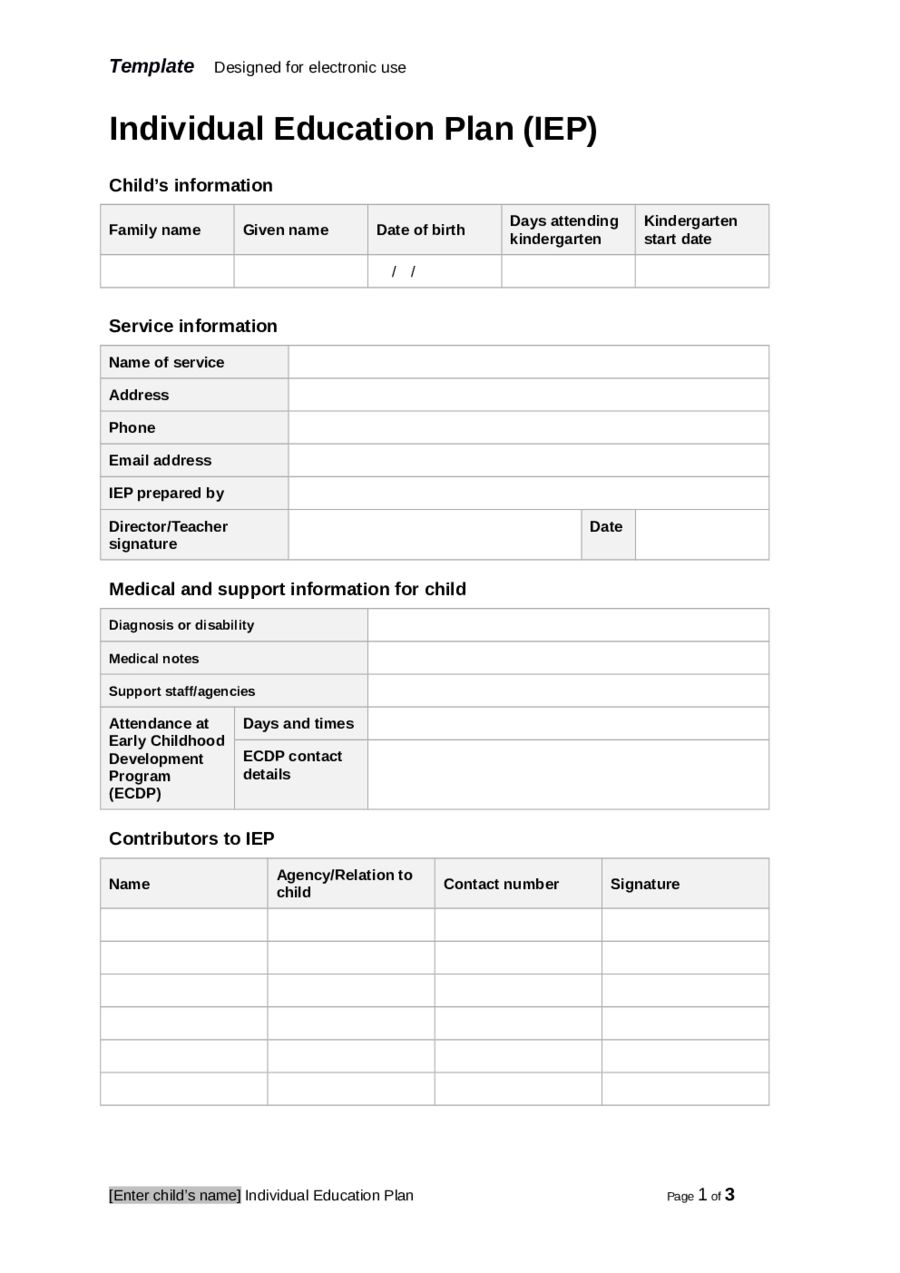 Individual Education Plan (Iep) Template Edit, Fill