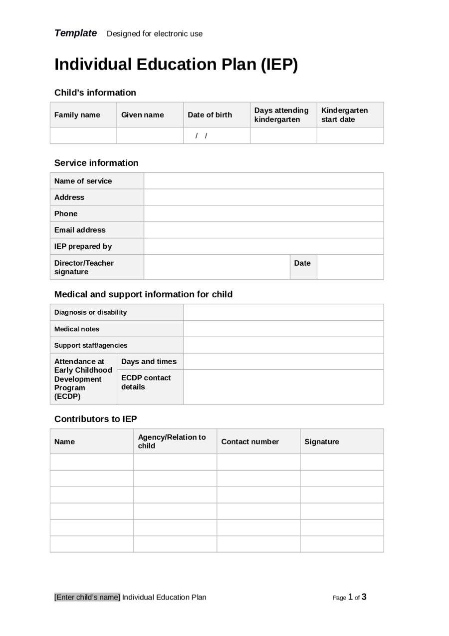 Individual Education Plan (Iep) Template Edit, Fill