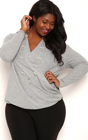 Plus Size Long Sleeve Metallic High Low Top with Surplice Front