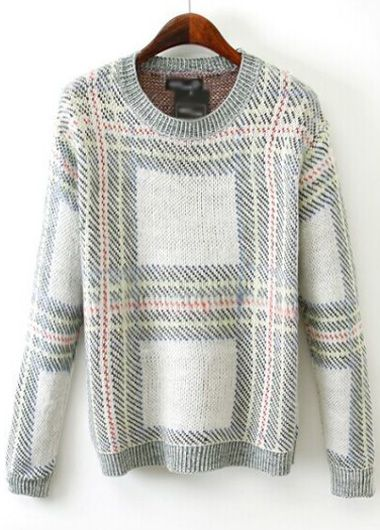 Laconic Round Neck Knitting Wool Pullovers with Print | Rosewe.com
