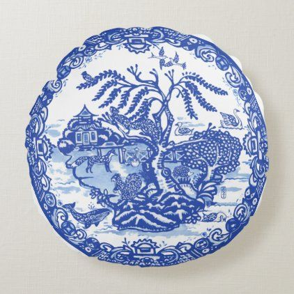 Blue Willow Animal Pagoda Garden Scene Chinoiserie Round Pillow