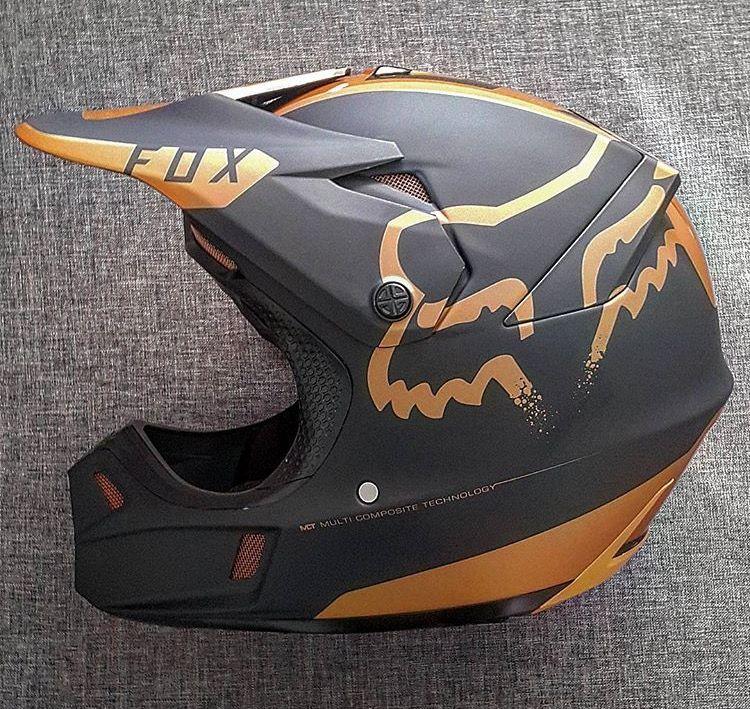 Fox Helmet In Gold Dirt Bike Helmets