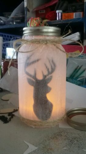 Deer Head Silhouette Country Primitive Mason Jar Light Led