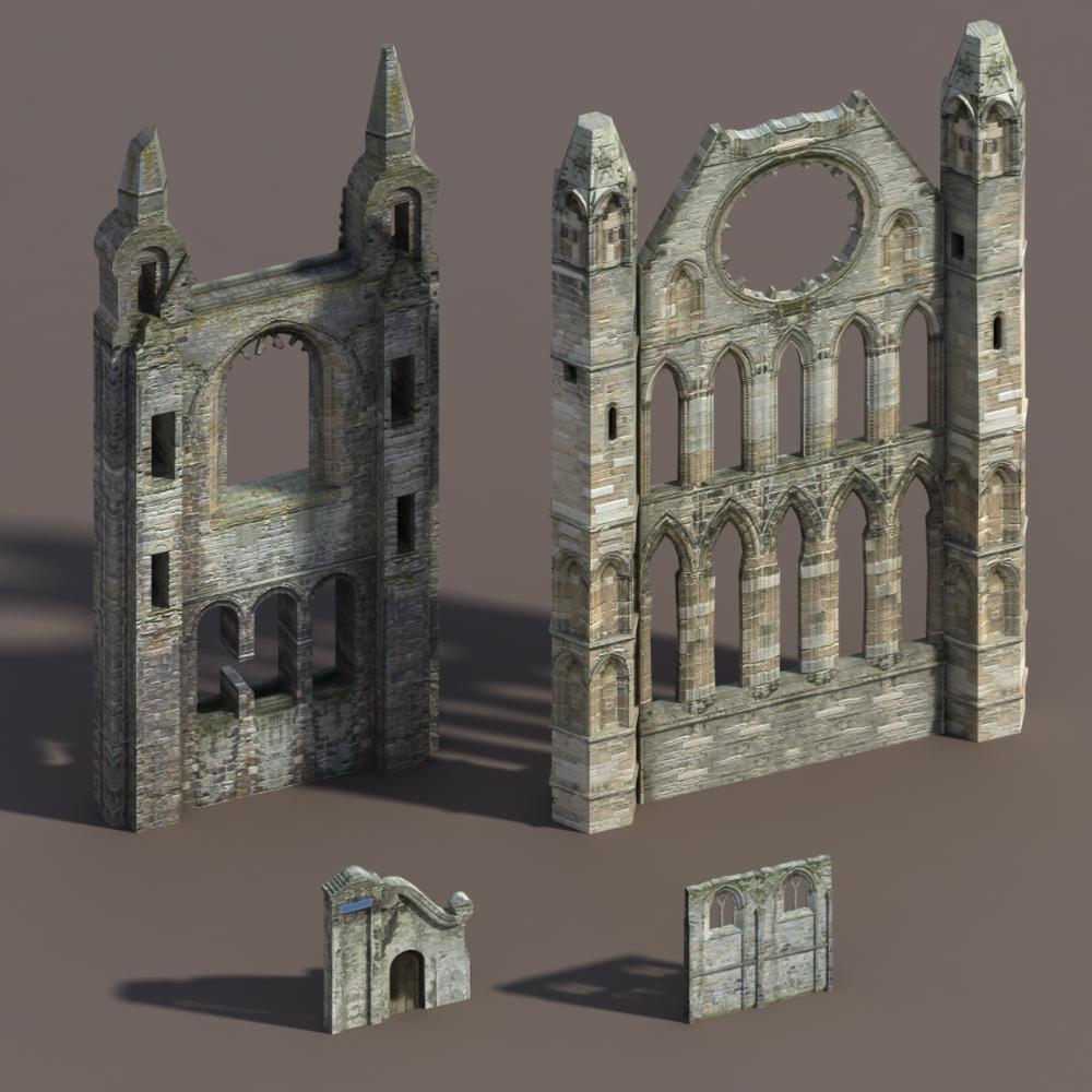 castle ruins modelled 3ds Model castle, Low poly 3d