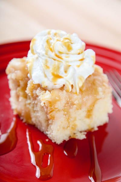 """""""Caramel Apple Poke Cake: Moist cake with creamy caramel and tart apples. All the flavors of a caramel apple with zero effort! This is one of those recipes, where everyone will ask for the recipe! Whether you take it to a family gathering, or a church potluck, you'll be bombarded. 5 Ingredients, and 35 minutes stand between you and a decadent Fall dessert! Way easier than caramel apples, and with less stick factor too. Yummy!"""""""