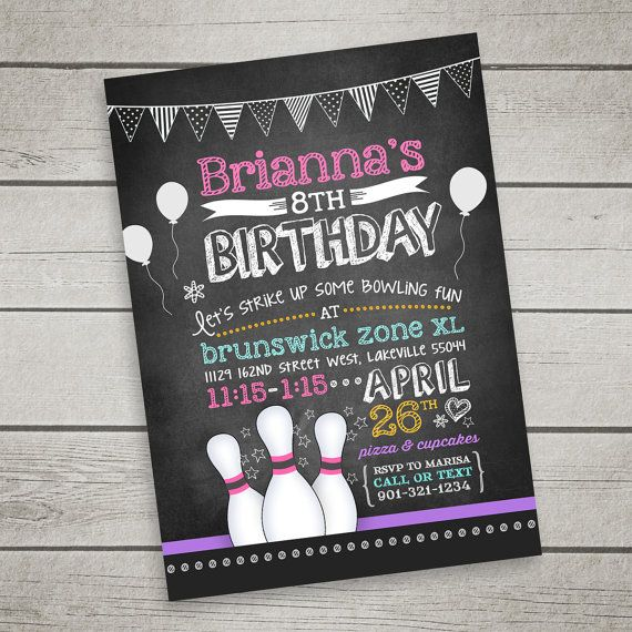 Bowling Invitation For Birthday Party  Chalkboard Style