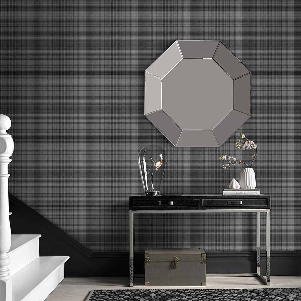Heritage Plaid Charcoal Wallpaper In 2020 Charcoal Wallp