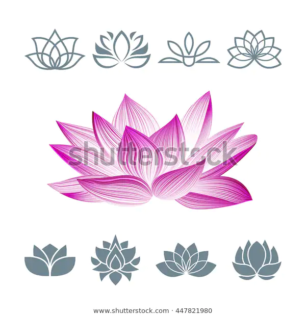 Lotus Flower Icons Set Vector Floral Stock Vector (Royalty