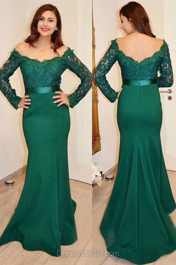 Long Prom Dress Low Back Prom Dresses Long Sleeves Evening Gowns