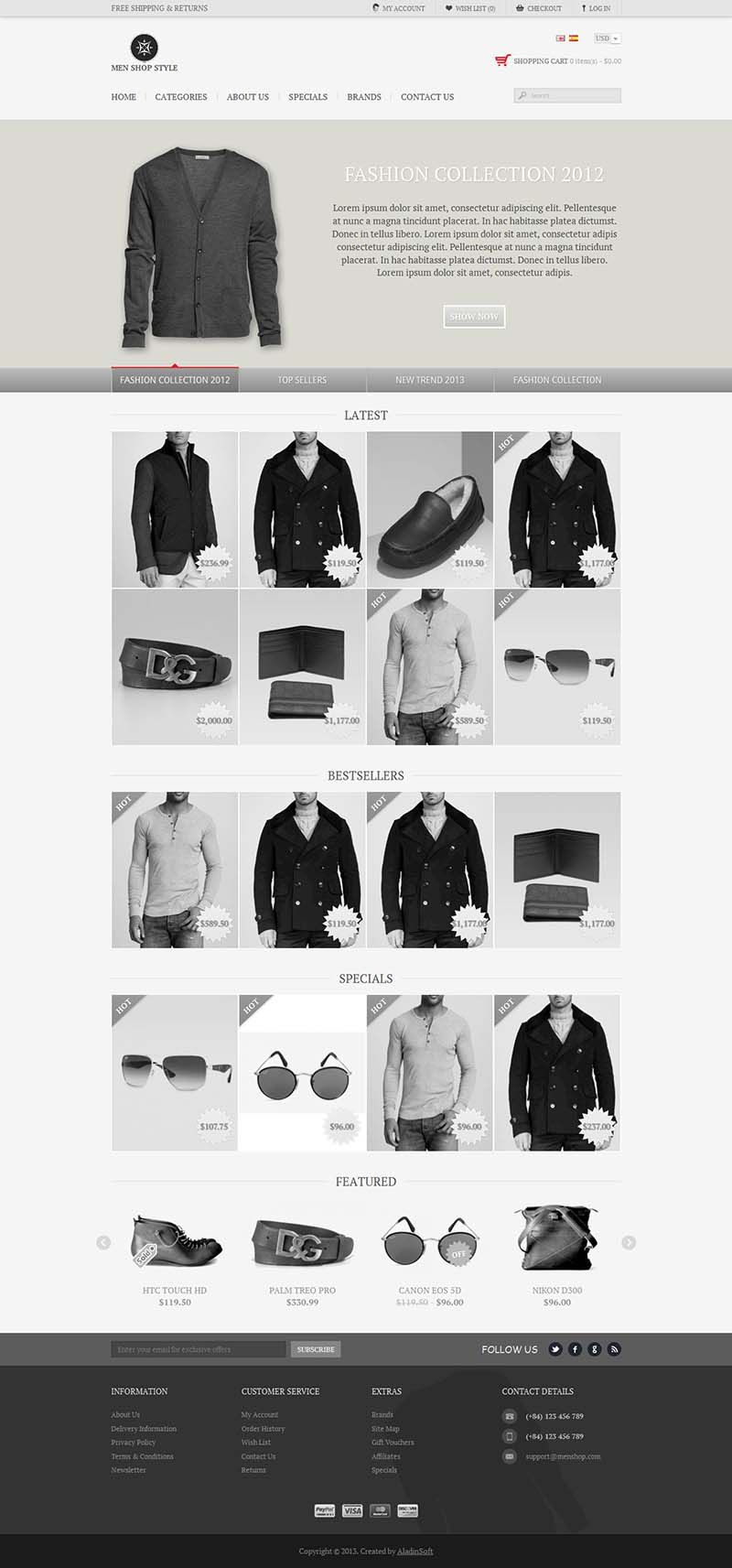 Men Style - Responsive #OpenCart Fashion Store Template