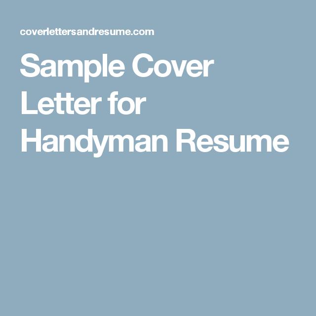 Sample Cover Letter for Handyman Resume – Handy Man Resume