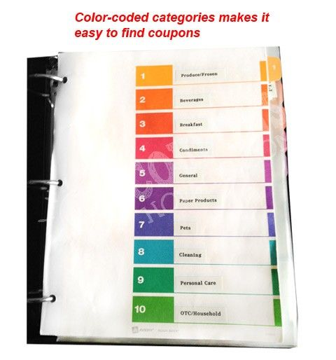 Coupon Binder Example - Category Tabs COUPON FRENZY Pinterest - example of a coupon