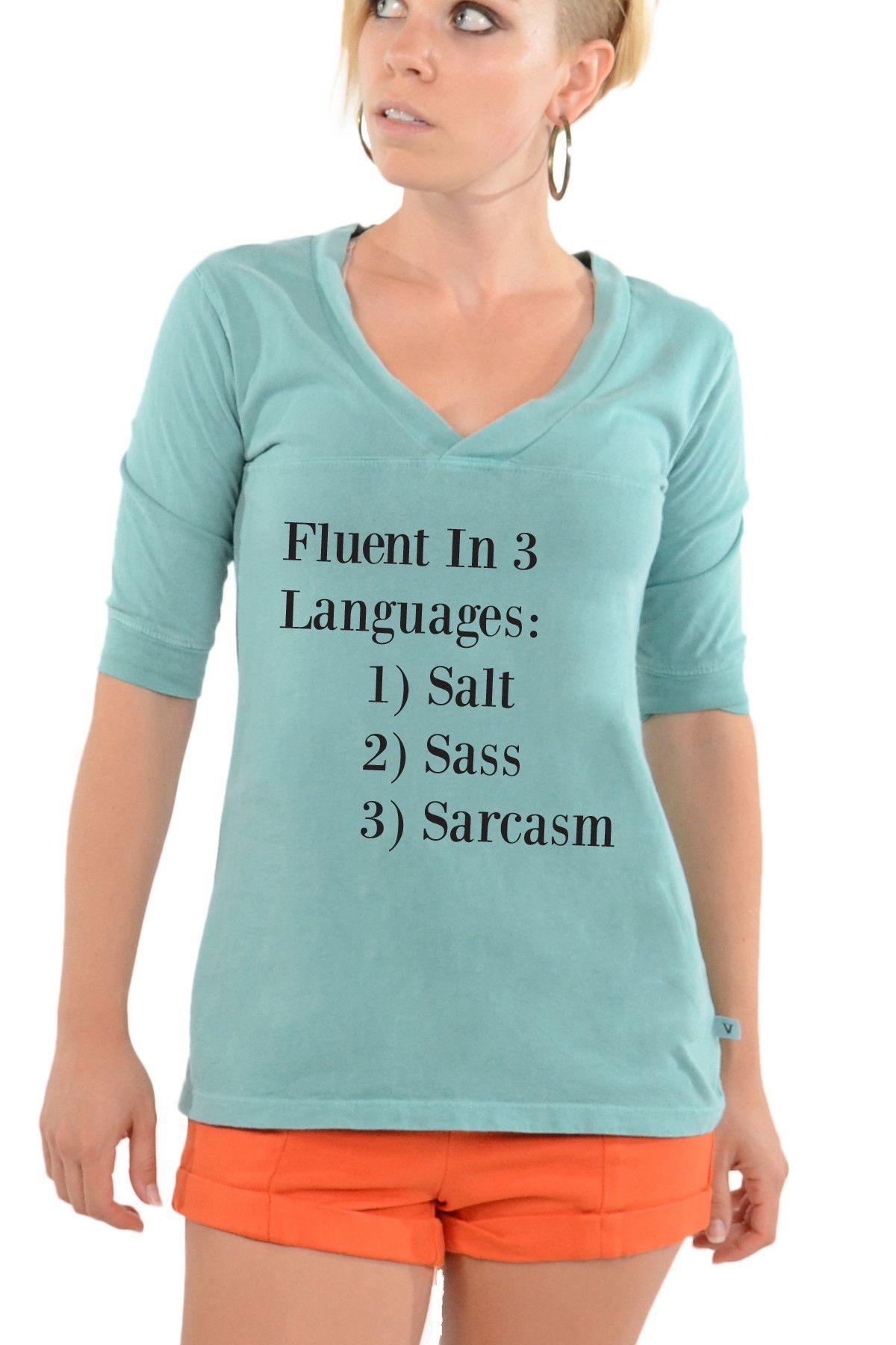 Salt, Sass, Sarcasm-Football V-Neck Tee