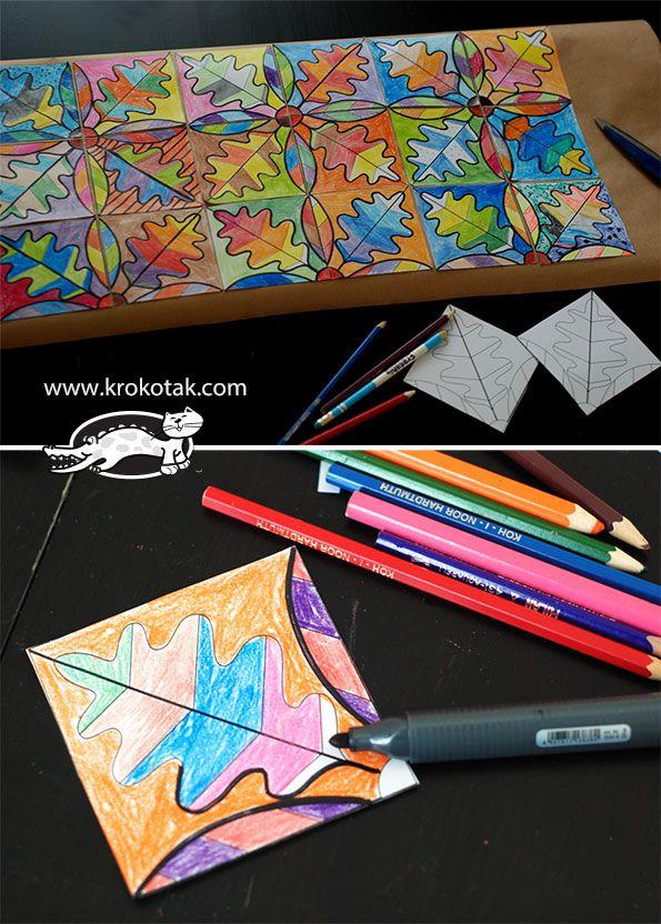 Sonbahar Yapragı Mozaik Boyama 1snf Arte Mosaicos Manualidades