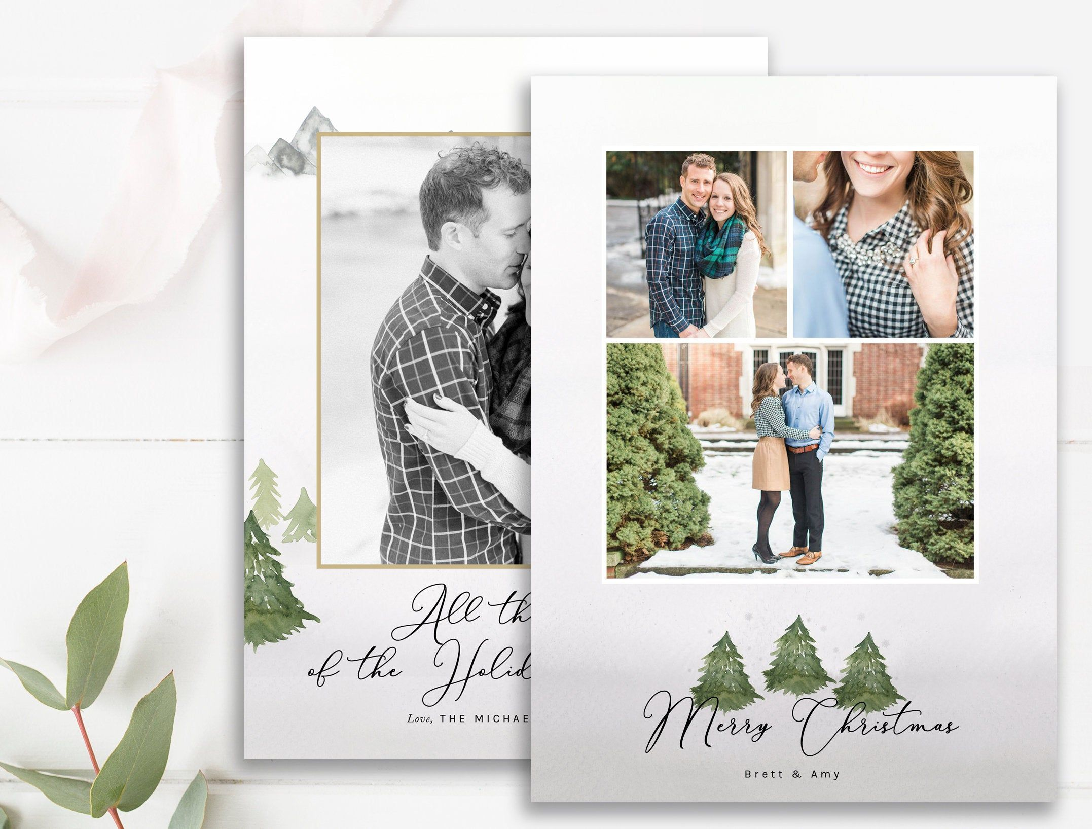 Rustic Elegant Christmas Photo Card Template Multiple Layout Etsy Christmas Photo Card Template Photo Card Template Christmas Photo Cards