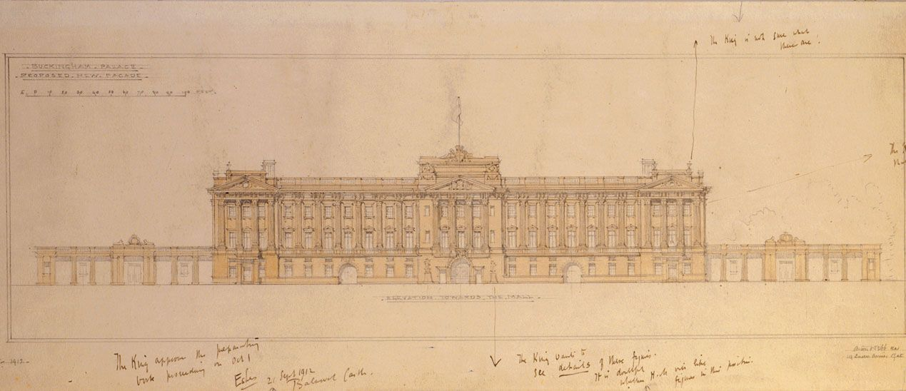 Design for the refacing of the east front of Buckingham Palace, 1912. Architect: Sir Aston Webb. © RIBA Library Drawings and Archives Collections
