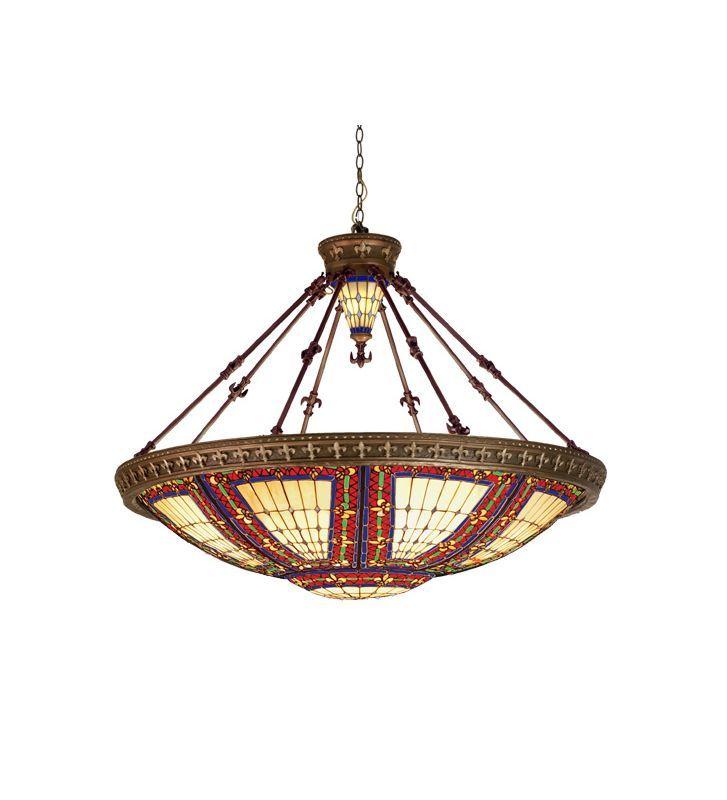Meyda Tiffany 98985 Tiffany Ten Light Down Lighting Pendant Mahogany Bronze Indoor Lighting Pendants