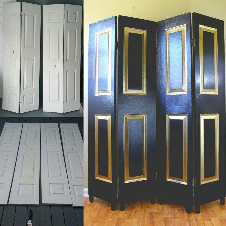 Recycled closet doors turned luxury room divider ItsRefurBish