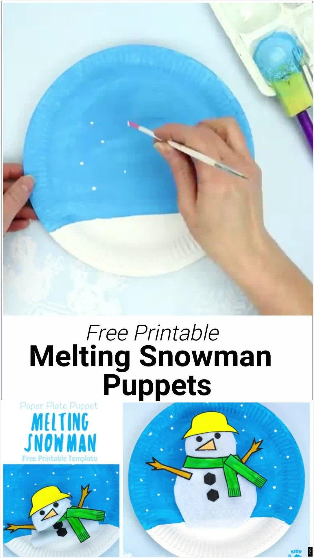 Diese Pappteller schmelzende Schneemann-Marionette ist entzückend! Verwenden Sie die druckbare Vorlage, um einen Schneemann zu erstellen, der zu Boden schmelzen und wieder auftauchen kann! #Pappteller #Schneemann #Marionette #schmelzen #bonhommedeneige