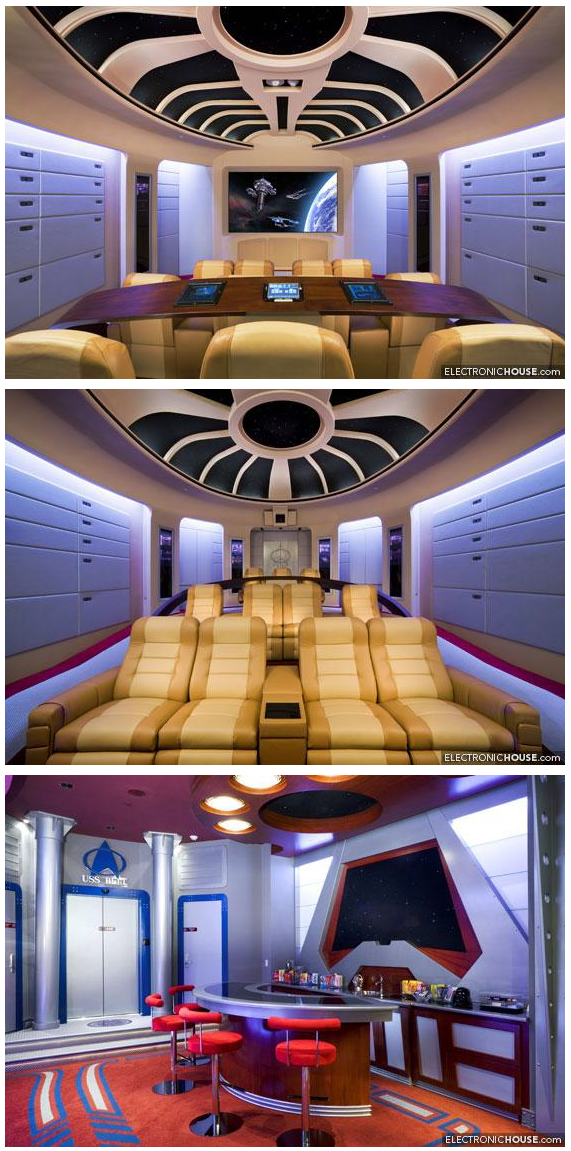 The most incredible home theatre ever. Star Trek: The Next Generation. Home theatre, complete with bar and ready room. Follow the link for the story and more photos!