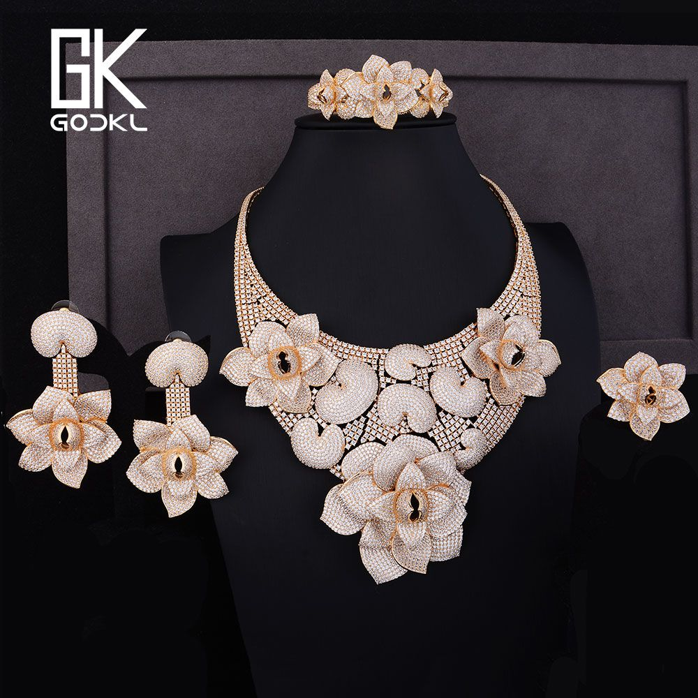 f5a4b27a444c GODKI Luxury Cannibal flower Cubic Zirconia NigerianBridal Jewelry set For  Women dubai gold jewelry sets indian jewelry Set 2018